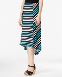 Ny Collection Petite Hi Low Striped Skirt Teal Frontier
