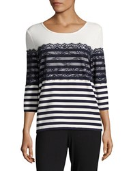 Karl Lagerfeld Striped Lace Three Quarter Sleeved Top Soft White