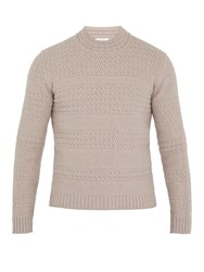 Boglioli Striped Cable Knit Wool Blend Sweater Beige