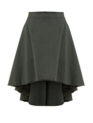 J.W.Anderson Asymmetric Hem Cotton Canvas Skirt Dark Green