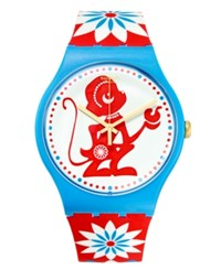 Swatch Unisex Swiss Lucky Monkey Multicolor Print Silicone Strap Watch 41Mm Suoz203
