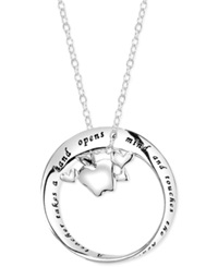 Macy's Inspirational Teacher Circle Pendant Necklace In Sterling Silver