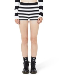 Marc Jacobs Plaited Stripe Boyshorts Black White