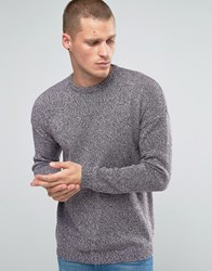 Asos Relaxed Crew Neck Jumper With Dropped Shoulder In Cotton Twist Grey