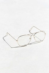 Urban Outfitters Roial Clear Aviator Readers Gold