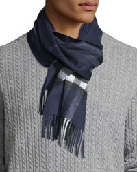 Burberry Men's Giant Check Cashmere Scarf Blue