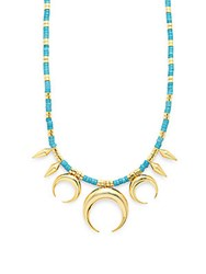 Noir Turquoise And 18K Gold Plated Pendant Necklace Blue Gold