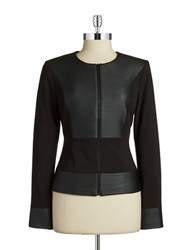 Calvin Klein Faux Leather Blazer Black