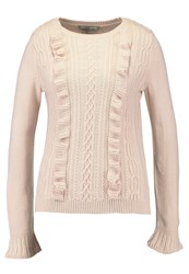 Dorothy Perkins Petite Ruffle Cable Front Jumper Jumper Blush Pink