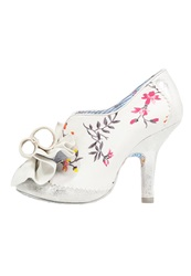 Irregular Choice Hook Line And Sinker High Heeled Ankle Boots Cream Pink White