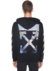 Off White Printed Arrow Cotton Jersey Hoodie Black