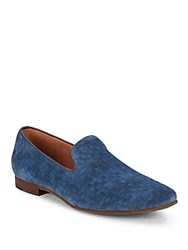 Steve Madden Checkered Suede Loafers Blue Suede