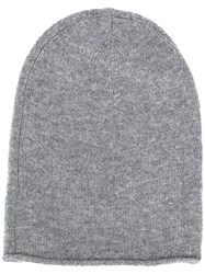 Allude Chunky Knit Beanie Hat Grey