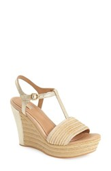 Women's Ugg 'Fitchie' T Strap Wedge Sandal Soft Gold Leather