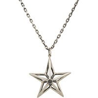 Black Diamond And Sterling Silver Star Pendant Necklace