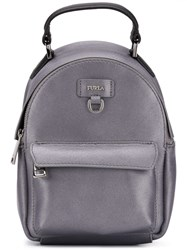 Furla Logo Plaque Backpack Grey