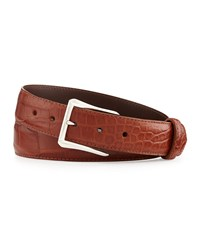 W.Kleinberg Matte Alligator Belt With 'The Watch' Buckle Cognac Made To Order Red