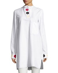 Derek Lam Embroidered Band Collar Shirtdress White