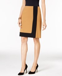 Nine West Crepe Framed A Line Skirt Brandy Black
