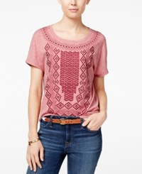 Tommy Hilfiger Genie Embroidered T Shirt Sonoma Red