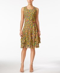 Styleandco. Style And Co. Printed Tie Sash Ruffled A Line Dress Only At Macy's Green Print