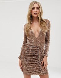 Lavish Alice Sequin Embellished Mini Dress In Gold