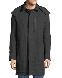 Marc New York Boulevard Herringbone Coat W Removable Hood Charcoal