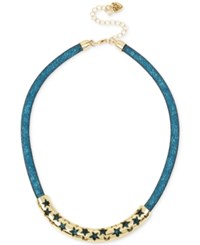 Betsey Johnson Gold Tone Blue Crystal Mesh Filled Collar Necklace Multi