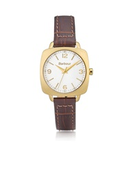 Barbour Chapton Textured Leather Watch Brown Gold Brown