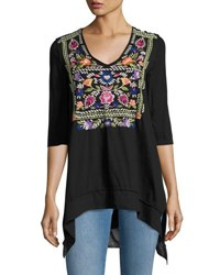 Johnny Was Josephine V Neck 3 4 Sleeve Tee Black