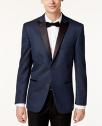 Alfani Red Men's Slim Fit Navy Black Houndstooth Evening Jacket Only At Macy's Navy Black