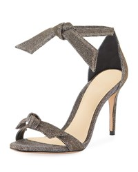 Alexandre Birman Clarita Mid Heel Metallic Evening Fabric Sandals Silver