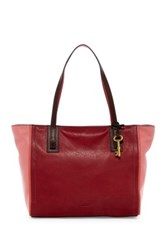 Fossil Emma Colorblock Leather Tote Red