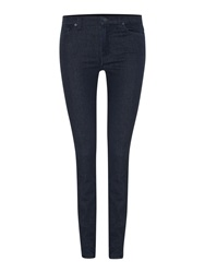 7 For All Mankind The Skinny High Waisted Jeans In Boston Deep Denim Dark Wash