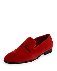 Alexander Mcqueen Creature Velvet Slip On Loafer Red