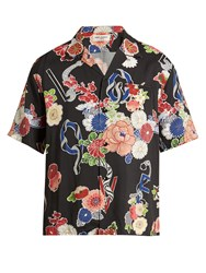 Saint Laurent Floral Print Short Sleeved Shirt 1061 Black Multi