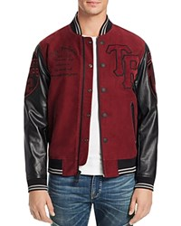 True Religion Collegiate Moleskin Leather Sleeve Jacket Bordeaux Black