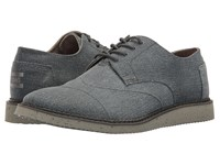 Toms Brogue Lace Up Slate Blue Coated Twill Men's Shoes Gray