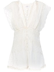 Zimmermann Lace Playsuit Women Silk Cotton 1 White