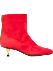 Lanvin Gold Tone Heels Boots Red