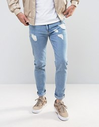 Asos Skinny Jeans With Rips In Bleach Wash Light Blue