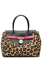 Hill And Friends Happy Tote Leather And Calf Hair Tote Animal Prints
