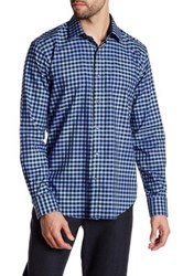 Bugatchi Checkered Shaped Fit Woven Shirt Blue