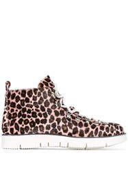 Fracap Pink Multicoloured Leopard Print Pony Hair Hiking Boots 60