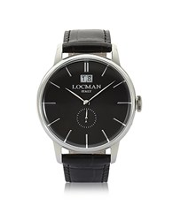 Locman 1960 Silver Stainless Steel Men's Watch W Black Croco Embossed Leather Strap