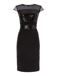 Linea Sequin Bodice Illusion Dress Black