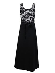 Feverfish Lace Contrast Maxi Satin Ribbon Dress Black