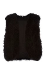 Elie Saab Black Short Feather Vest
