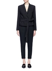 Helmut Lang Belted Virgin Wool Gabardine Jacket Black