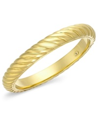 Signature Gold Bold Ribbed Slip On Bangle In 14K Gold
